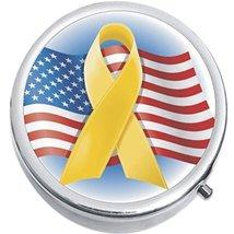 Yellow Ribbon Flag Troops Medicine Vitamin Compact Pill Box - $9.78