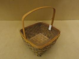 Designer Basket 13in H x 11in W x 11in D Woodtone Handle Plastic Liner W... - $16.92