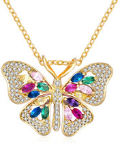 Colourful Butterfly Pendant Necklace Gold Plated With CZ Gifts For Mothe... - $86.62