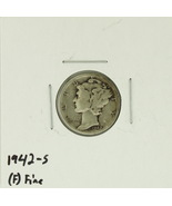 1942-S United States Mercury Dime 90% Silver Rating: (F)  Fine  - ₨110.32 INR