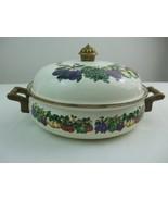 Lidded Casserole Pan Tabletops Unlimited Kensington Garden Metal Enamel ... - $39.55