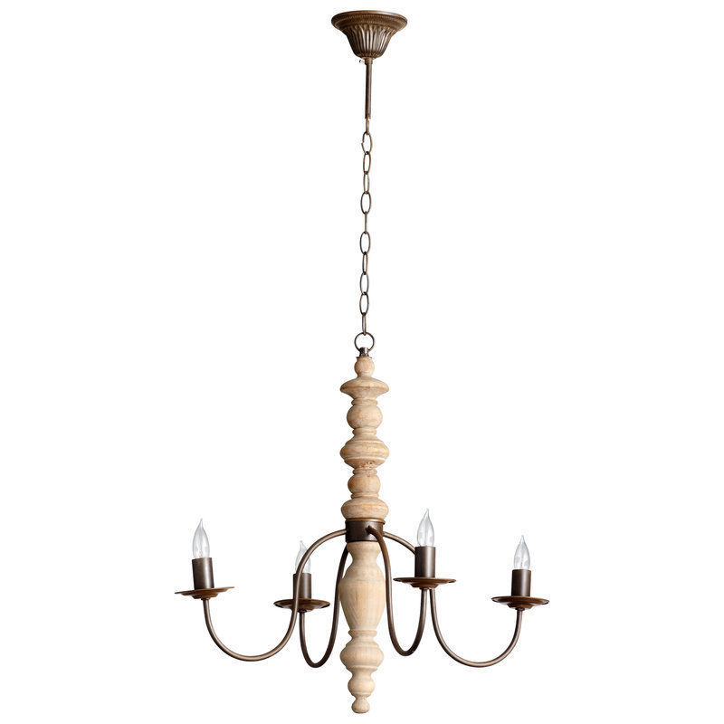 Primary image for 18th C. Restoration Vintage Look Turned White Oak Wood Rustic Chandelier