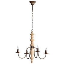 18th C. Restoration Vintage Look Turned White Oak Wood Rustic Chandelier - $444.51+