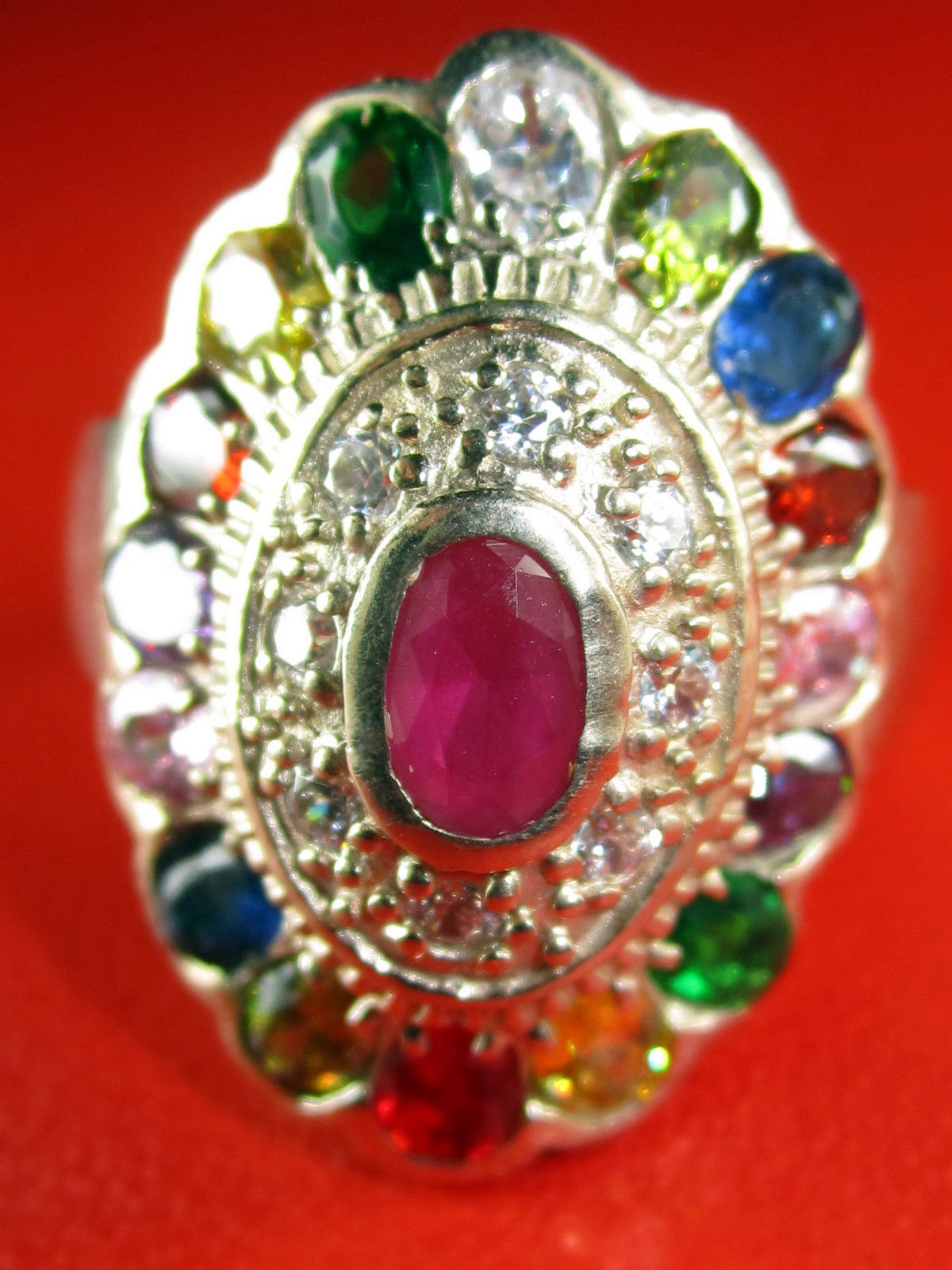 Primary image for Rare! Limited Multi-Colors Gem Stone Ring Top Thai Buddha Amulets USA Size 10.5