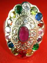 Rare! Limited Multi-Colors Gem Stone Ring Top Thai Buddha Amulets USA Size 10.5 - $19.99