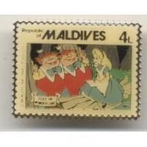 Alice Tweetdle Dee & Dum Wonderland Maldives Stamp Authentic Disney pin ... - $24.18