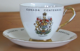 Footed Tea Cup and Saucer Royal Rose Canadian Centennial 1967 Vintage Bo... - $13.95