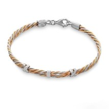 "Women's 7.5"" Tri Tone .925 Sterling Silver Twist Bracelet X Charms - $139.99"