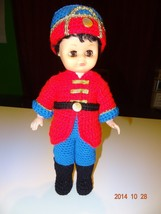 Christmas Doll with finished handmade crochet soldier uniform New - $29.14