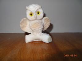Vintage White Owl sitting on log. Salt Stone - $20.61