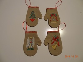 Four Mitten ornaments four different pictures Finished Cross Stitch - $46.08