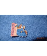 New Finished Cross Stitch Pin of a Graduation Teddy Bear with blue cap a... - $20.83
