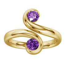 14K Yellow Gold Plated Round Cut Purple Color Two Stone 925 Silver Bypas... - $39.99