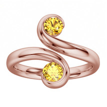 14K Rose Gold Plated Yellow Sapphire 925 Silver Two Stone Brilliant Bypa... - $39.99
