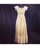 Vtg 70s Cotton Festival Granny Hippie Maxi Dress Wildflower Pale Yellow XS - $49.01