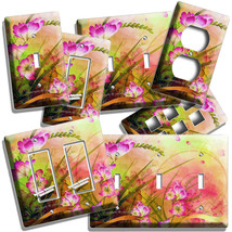 ABSTRACT ART WILD PINK FLOWERS LIGHT SWITCH OUTLET WALL PLATES FLORAL RO... - $10.99+