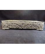 Godinger Victorian Style Jewelry Box Silver Plate Leaf Motif Grey Velvet... - $23.75