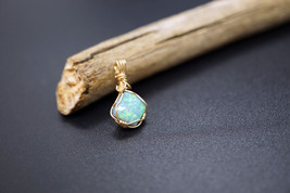 Natural Square Opal Handmade Gold-filled Wire Wrap Pandent Tiny Pendant ... - $168.00