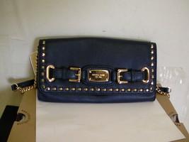 michael kors hamilton whipped shoulder bag clutch Navy - $158.35