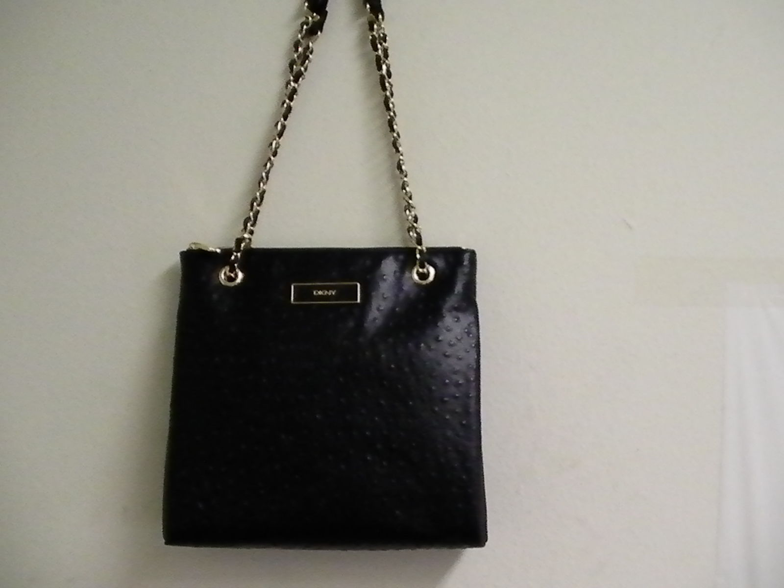 DKNY donna karan shoulder handbag ostrich leather black purse