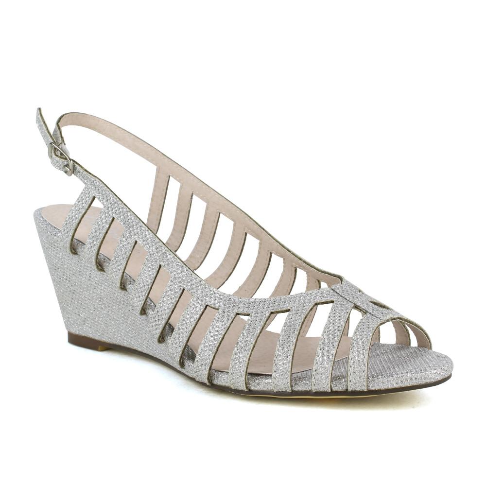 womens dress sandals wedge cutout embellishment glitter