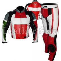 Leather Skin Black Red Biker Motorcycle Racing Premium Genuine Leather Jacket - $299.99