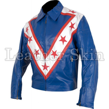 Leather Skin Blue Red Star Stripes Racing Premium Genuine Leather Jacket - $179.99