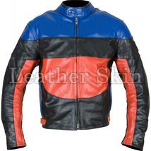 Leather Skin Black Red Blue Biker Motorcycle Racing Genuine Leather Jacket - $179.99