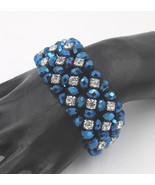 Sapphire Blue AB Faceted Crystal Prong Set Rhinestone Stretch Bracelet B... - $148.49