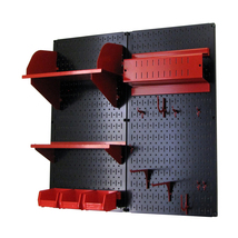 Craft Pegboard Organizer Storage Kit With Black Pegboard And Red Accesso... - $139.82