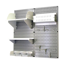 Craft Pegboard Organizer Storage Kit With Gray Pegboard And White Access... - $148.39