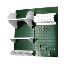 Craft Pegboard Organizer Storage Kit With Green Pegboard And White Acces... - $148.39