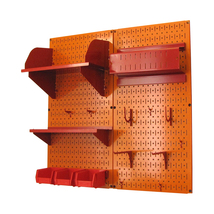 Craft Pegboard Organizer Storage Kit With Orange Pegboard And Red Access... - $150.92