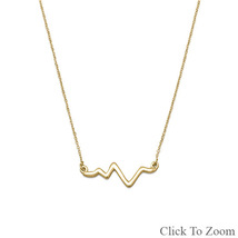 Gold Necklace with Heartbeat Pendant - $34.99