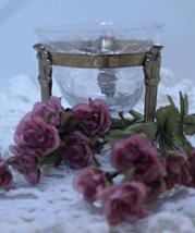 Vintage CRACKLE GLASS & Brass Candle Holder,  Potpourri Holder - $10.25