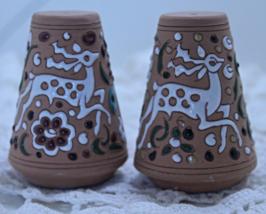 Vintage Set of Swedish Terracotta Enameled Paint Deer Design Salt Pepper... - $12.50