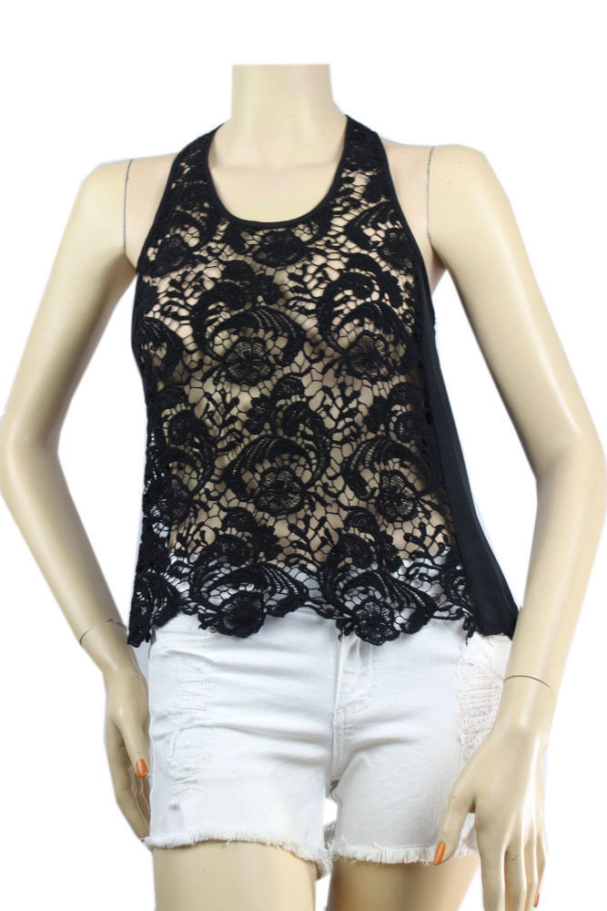 Good Quality LACE BODY Scoop Neck TANK TOP Cffion Side, Color Block Casual SML