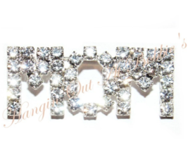 MOM Word Pin Brooch Clear Austrian Crystal Prong Set Silvertone Mother's Day - $15.99
