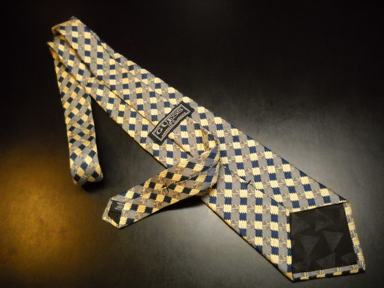 Guess Neck Tie Diagonal Stripes of Blues and Golds Imported Silk Made in USA