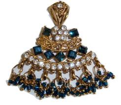 Fancy Blue Stone Pendant On Gold Tone - $12.00