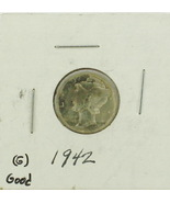 1942 United States Mercury Dime 90% Silver Rating: (G) Good  - €1,30 EUR