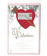 Valentine Heart with Envelope Add-On Vintage Embossed Forget Me Nots Pos... - $4.99