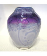 Studio Art Glass Purple Vase Abstract Design Hand Blown Cased Glass - $227.20