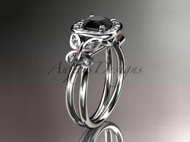 Leafring330 white gold  platinum  diamond wedding ring  diamond engagement ring  black diamond  1
