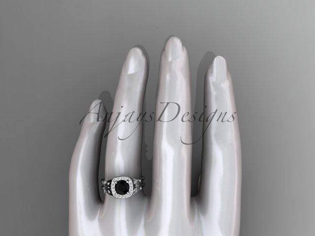 Unique butterfly bridal ring, 14kt white gold butterfly engagement ring, black d