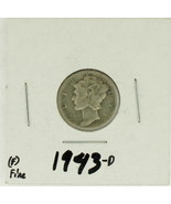 1943-D United States Mercury Dime 90% Silver Rating: (F)  Fine  - $29,95 MXN