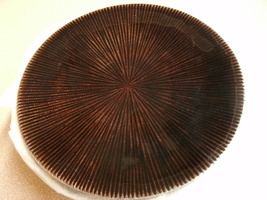 "Pillar Candle Holder 6"" Round Plate Pier 1 Style Mahogany Brown - $9.99"