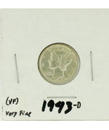 1943-D United States Mercury Dime 90% Silver Rating: (VF)  Very Fine  - $1.60