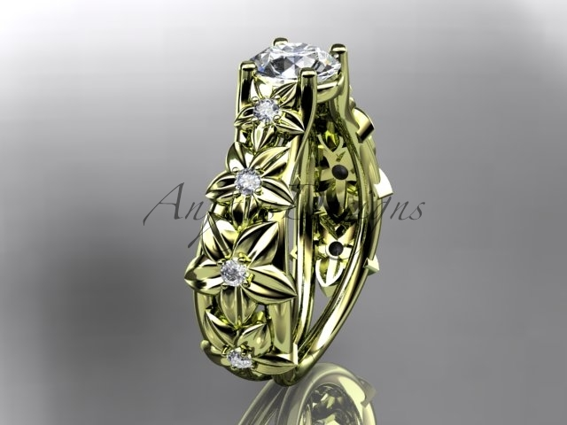 Primary image for Yellow gold Floral engagement ring, 14kt yellow gold diamond engagement ring wit