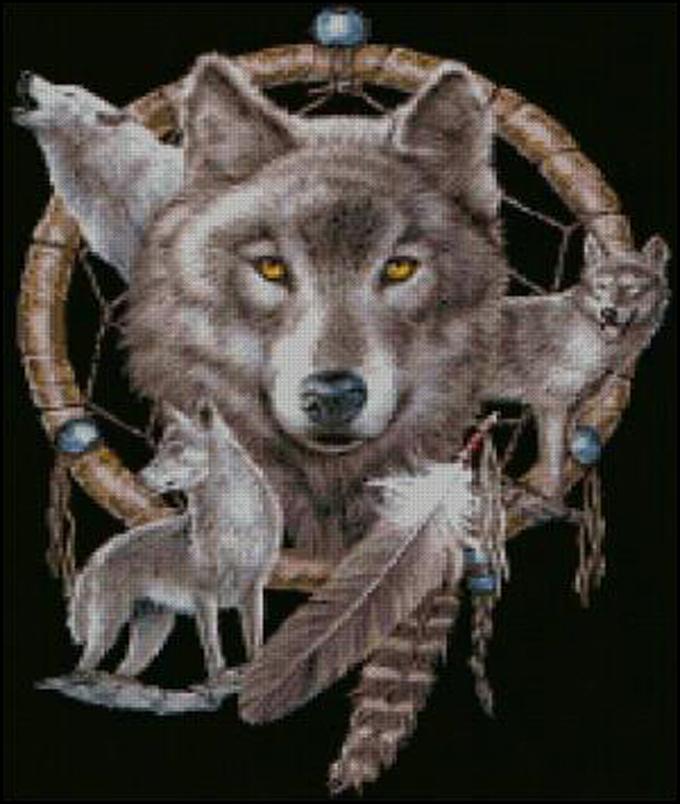 Dreamcatcher and wolves cross stitch pattern